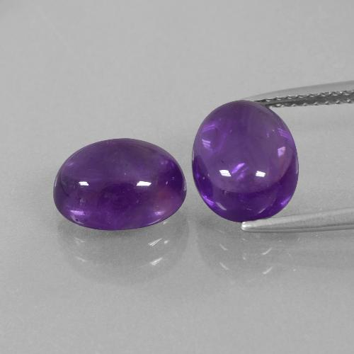 Medium-Light Violet Amethyst Gem - 2.8ct Oval Cabochon (ID: 392271)