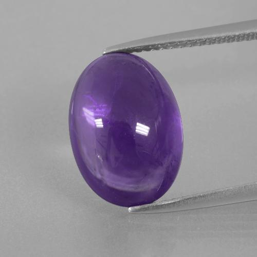 Medium Violet Amethyst Gem - 6.4ct Oval Cabochon (ID: 392773)