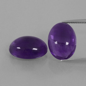 Medium Violet Amethyst Gem - 5.6ct Oval Cabochon (ID: 392837)
