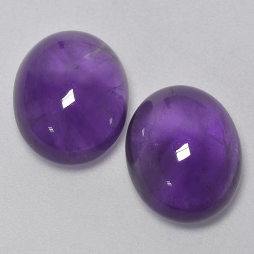 Medium Violet Amethyst Gem - 4.6ct Oval Cabochon (ID: 410658)