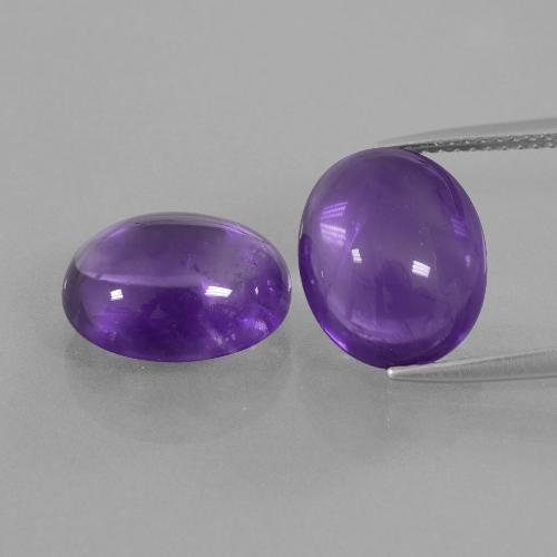 Medium Violet Amethyst Gem - 4.8ct Oval Cabochon (ID: 410665)
