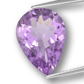 Purplish Violet Amethyst Gem - 6.3ct Pear Facet (ID: 459942)