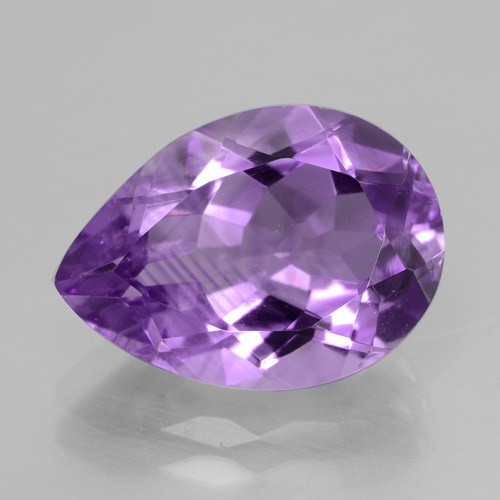 Medium Purplish Violet Amethyst Gem - 4.8ct Pear Facet (ID: 465454)