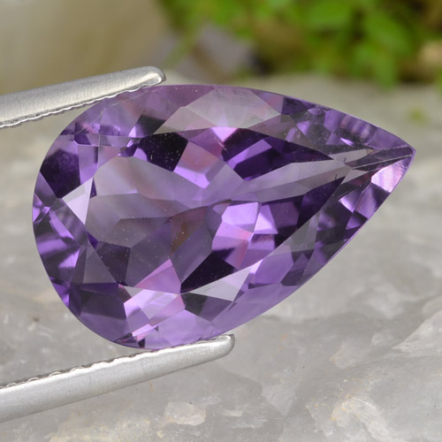 Medium Violet Améthyste gemme - 4.5ct Poire facette (ID: 475876)