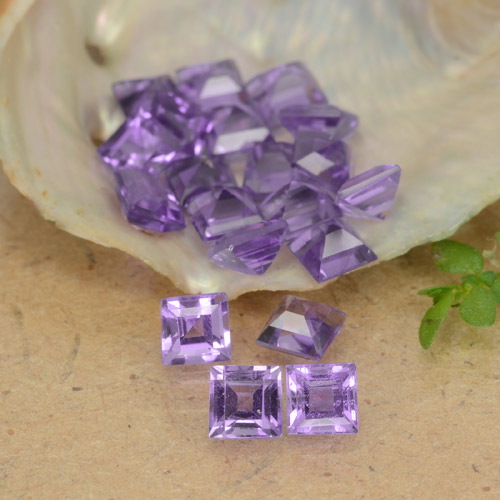 Violet Amethyst Gem - 0.2ct Square Step-Cut (ID: 477227)
