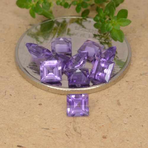 Violet Amethyst Gem - 0.2ct Square Step-Cut (ID: 477258)