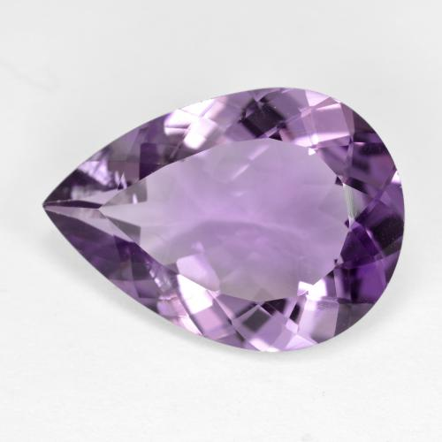 Medium-Light Purplish Violet Amatista Gema - 7.9ct Corte en forma de pera (ID: 477921)