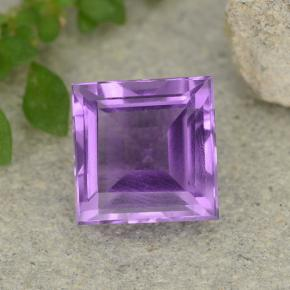 Medium Purplish Violet Améthyste gemme - 1.6ct Carré taillée en degrés (ID: 482705)