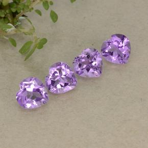 Medium Purplish Violet Amethyst Gem - 0.7ct Heart Facet (ID: 497252)
