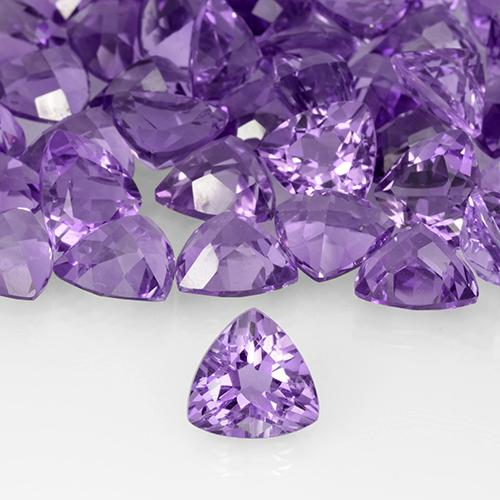 Deep Violet Amethyst Gem - 3ct Trillion Facet (ID: 505742)