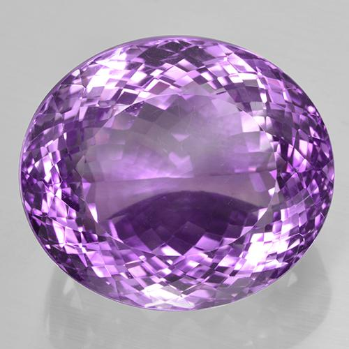 59.45 ct Oval Portuguese-Cut Deep Pinkish Violet Amethyst Gemstone 25.25 mm x 22 mm (Product ID: 505949)