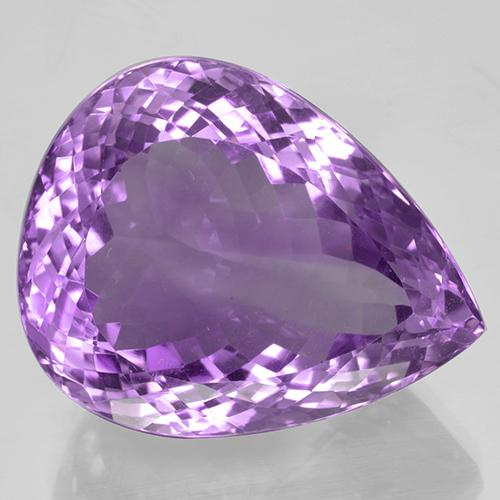 52.37 ct Poire facette Medium Purplish Violet Améthyste gemme 27.01 mm x 21.8 mm (Photo A)