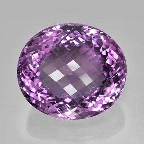 81.12 ct Forma de Tablero de Ajedrez Óvalo Medium Pinkish Violet Amatista Gema 29.08 mm x 25.8 mm (Foto A)