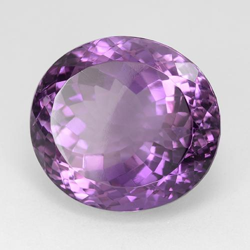 Medium-Dark Violet Amethyst Gem - 27.5ct Oval Facet (ID: 509124)