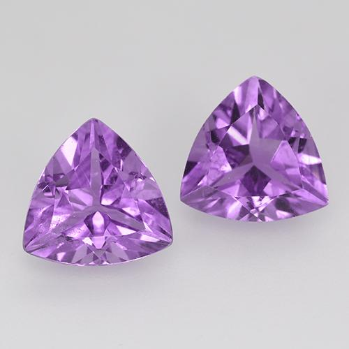 Medium-Dark Violet Amethyst Gem - 1.5ct Trillion Facet (ID: 516117)