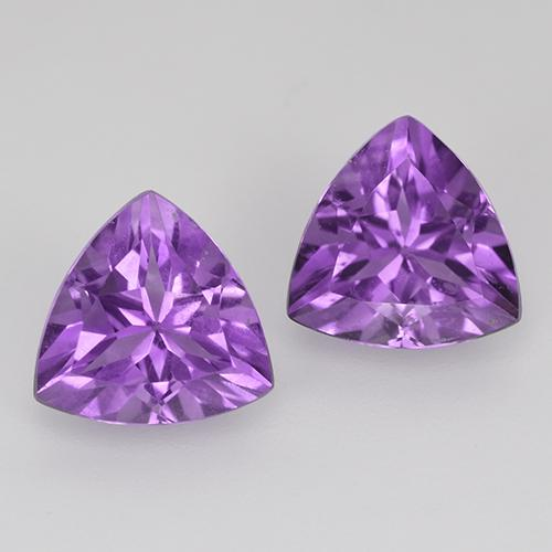 Medium-Dark Violet Amethyst Gem - 1.6ct Trillion Facet (ID: 516118)