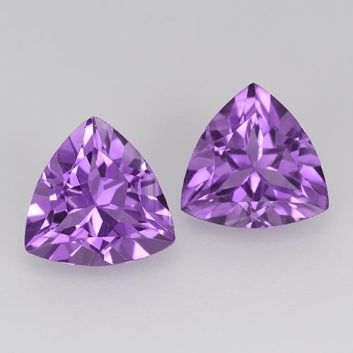 Deep Pinkish Violet Amethyst Gem - 1.6ct Trillion Facet (ID: 516119)