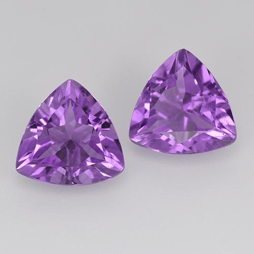 Pinkish Violet Amethyst Gem - 1.5ct Trillion Facet (ID: 516122)