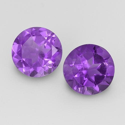 Medium-Dark Violet Amatista Gema - 1.8ct Faceta Redonda (ID: 519500)