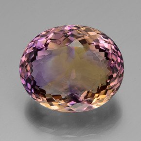 37.08 ct Oval Portuguese-Cut Bi-Color Ametrine Gem 22.27 mm x 18.7 mm (Photo A)