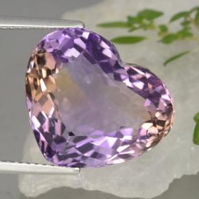 Bi-Color Ametrine Gem - 13.6ct Heart Facet (ID: 470334)