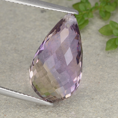 Bi-color Ametrine Gem - 9.1ct Briolette with Hole (ID: 484326)