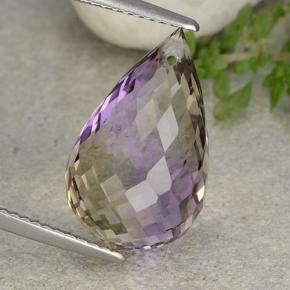 Bi-Color Ametrine Gem - 10.9ct Briolette with Hole (ID: 484433)
