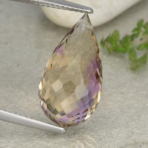 Bi-Color Ametrine Gem - 10.8ct Briolette with Hole (ID: 484434)