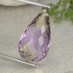 Bi-Color Ametrine Gem - 10.1ct Briolette with Hole (ID: 484440)
