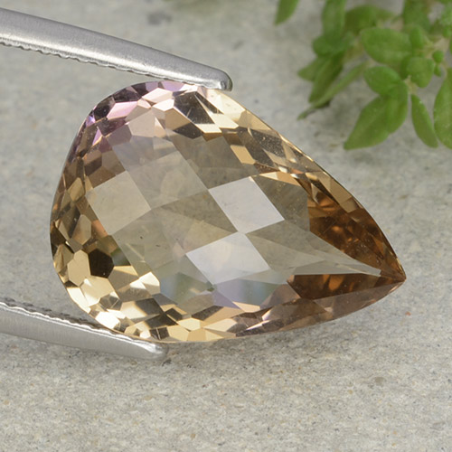 Bi-color Ametrine Gem - 7ct Pear Checkerboard (ID: 484442)