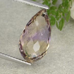 Bi-Color Ametrine Gem - 8.2ct Briolette with Hole (ID: 484444)