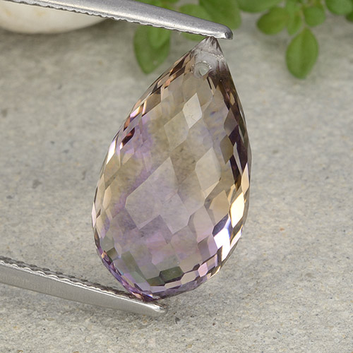 Bi-Color Ametrine Gem - 9.1ct Briolette with Hole (ID: 484465)