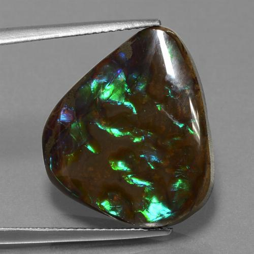 Multicolor Ammolite Gem - 16.8ct Pear Cabochon (ID: 452763)