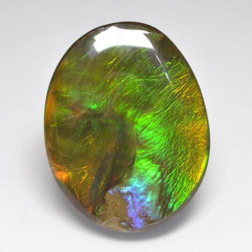 22.8ct Fancy Cabochon Multicolor Ammolite Gem (ID: 522369)