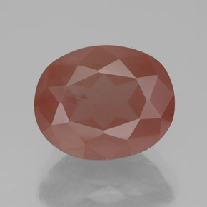 Pale Reddish Orange Andesine Labradorite Gem - 3.6ct Oval Facet (ID: 334838)