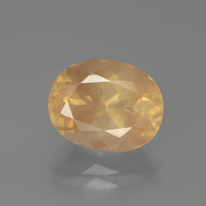 4.9ct Oval Facet Light Peachy Golden Andesine Labradorite Gem (ID: 376386)