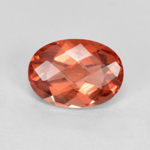 Dark Orange Andesine Labradorite Gem - 0.8ct Oval Checkerboard (ID: 488914)