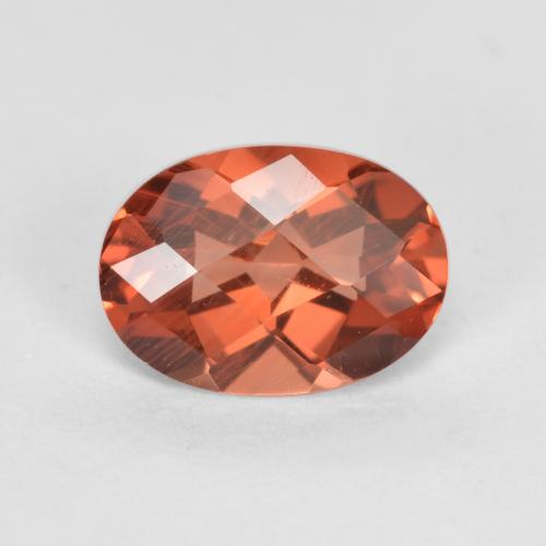 Orange Red Andesine Labradorite Gem - 0.7ct Oval Checkerboard (ID: 488916)