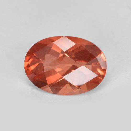 Orange Red Andesine Labradorite Gem - 0.7ct Oval Checkerboard (ID: 488923)