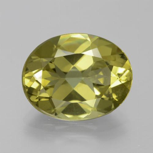 Golden Green Apatite Gem - 7.3ct Oval Facet (ID: 385927)