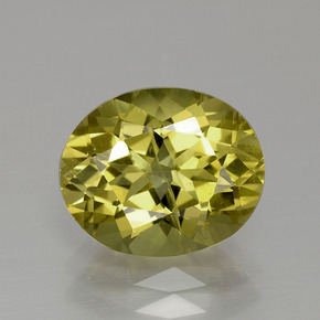 Golden Green Apatite Gem - 3.4ct Oval Facet (ID: 390890)