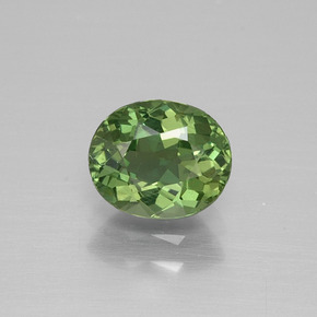 Deep Green Apatite Gem - 1.2ct Oval Facet (ID: 392657)
