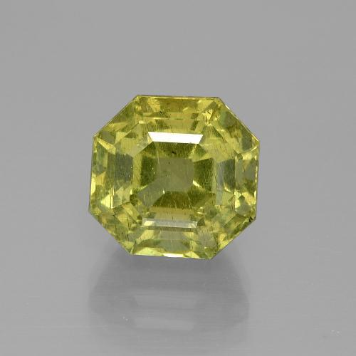 7.77 ct Asscher Cut Green Yellow Apatite Gemstone 10.72 mm x 10.4 mm (Product ID: 395814)