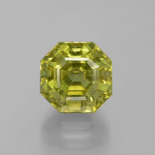 11.26 ct Asscher Cut Golden Green Apatite Gemstone 11.83 mm x 11.7 mm (Product ID: 396054)