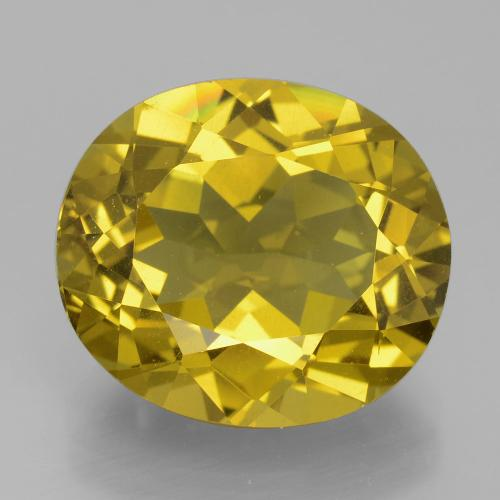 Greenish Golden Apatite Gem - 13.9ct Oval Facet (ID: 398363)