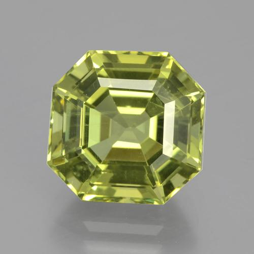 6.54 ct Asscher Cut Yellowish Green Apatite Gemstone 11.01 mm x 10.9 mm (Product ID: 399659)