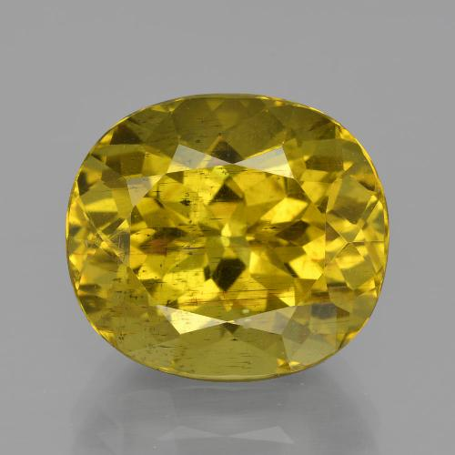 Greenish Golden Apatite Gem - 11.7ct Oval Facet (ID: 400908)