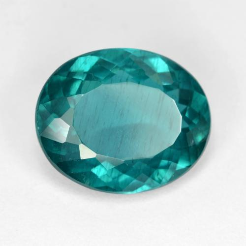 5.48 ct Oval Facet Deep Teal Apatite Gemstone 13.04 mm x 10.7 mm (Product ID: 405950)