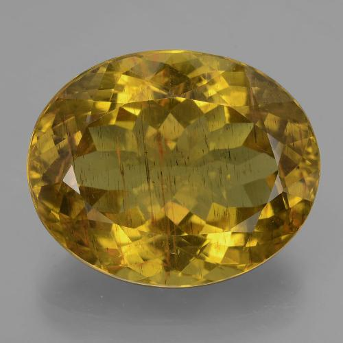 23.25 ct Oval Facet Earthy Yellow Apatite Gemstone 20.54 mm x 16.6 mm (Product ID: 407386)