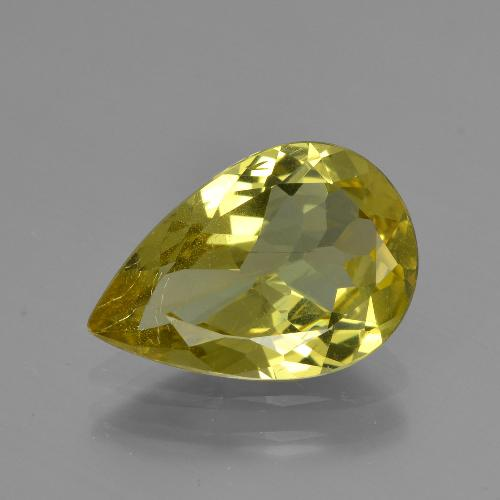 Golden Green Apatite Gem - 3.1ct Pear Facet (ID: 407918)
